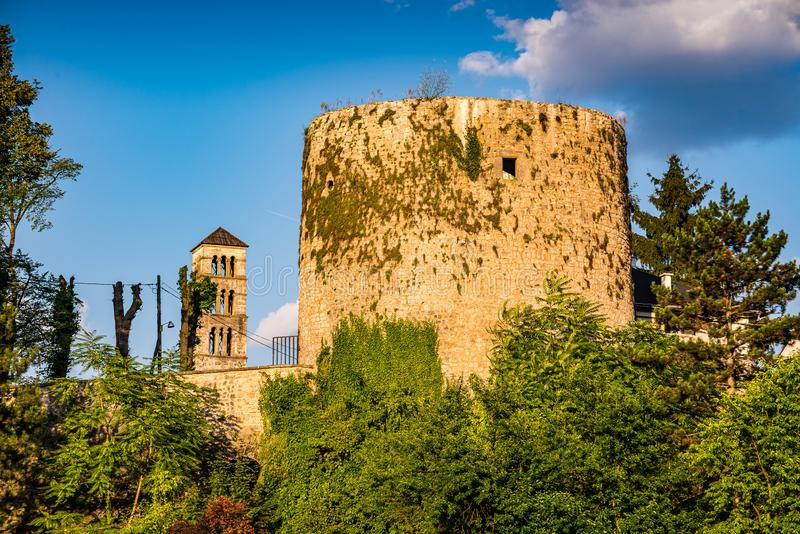 Medvjed kula - bears tower and old tower in Jajce, Bosnia and Herzegovina.  stock image