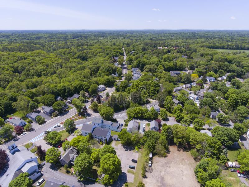 Medway aerial view, Massachusetts, USA. Aerial view of Medway historic town center and Village Street in summer, Medway, Boston Metro West area, Massachusetts royalty free stock photos