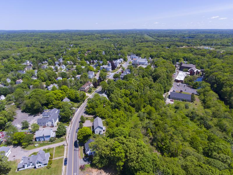 Medway aerial view, Massachusetts, USA. Aerial view of Medway historic town center and Village Street in summer, Medway, Boston Metro West area, Massachusetts stock image
