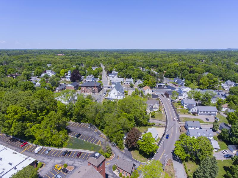 Medway aerial view, Massachusetts, USA. Aerial view of Medway historic town center and Village Street in summer, Medway, Boston Metro West area, Massachusetts stock photo