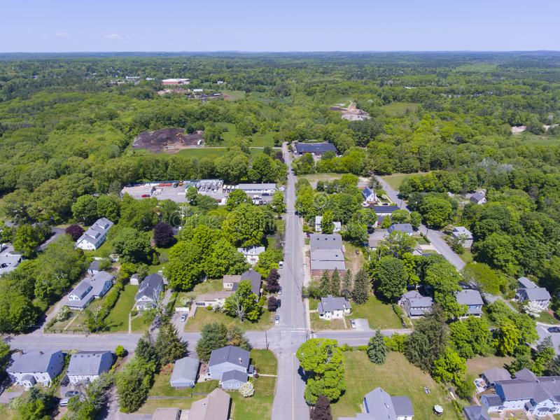 Medway aerial view, Massachusetts, USA. Aerial view of Medway historic town center and Village Street in summer, Medway, Boston Metro West area, Massachusetts royalty free stock images
