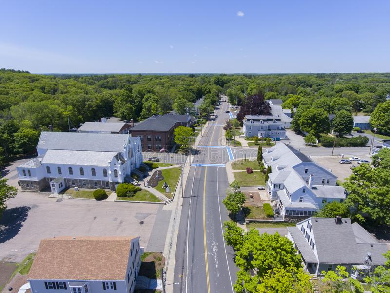 Medway aerial view, Massachusetts, USA. Aerial view of Medway historic town center, St. Joseph`s Parish Church and Village Street in summer, Medway, Boston Metro stock photography