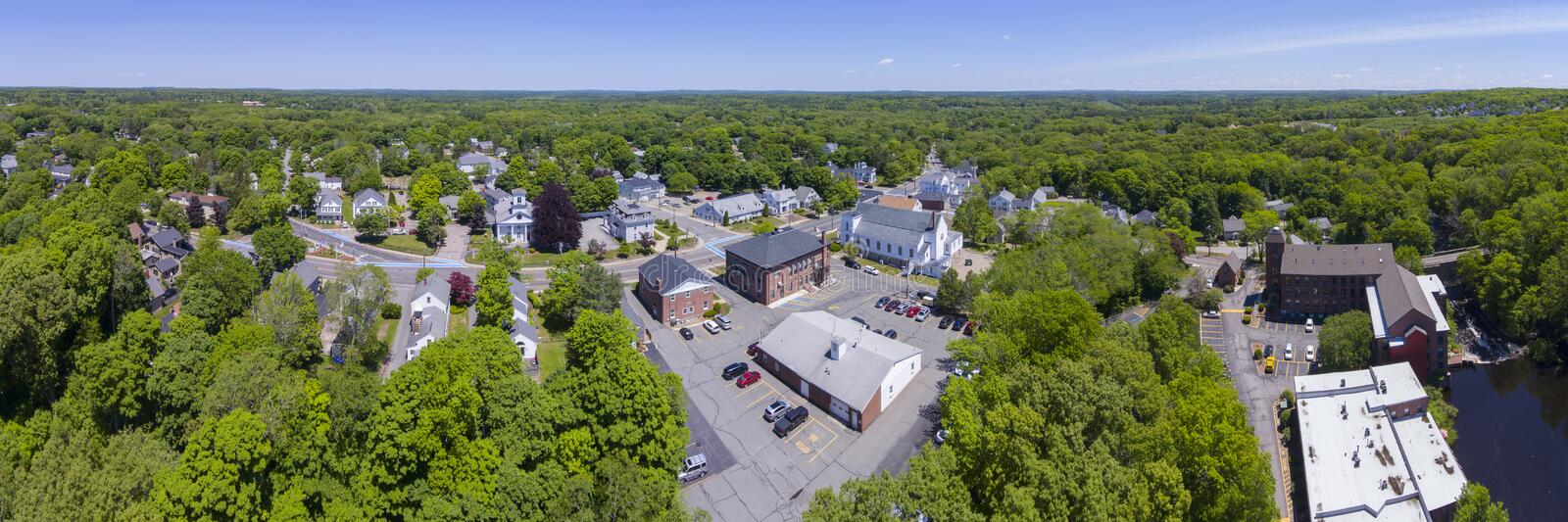 Medway aerial view panorama, Massachusetts, USA. Aerial view of Medway historic town center and Village Street panorama in summer, Medway, Boston Metro West area royalty free stock photo
