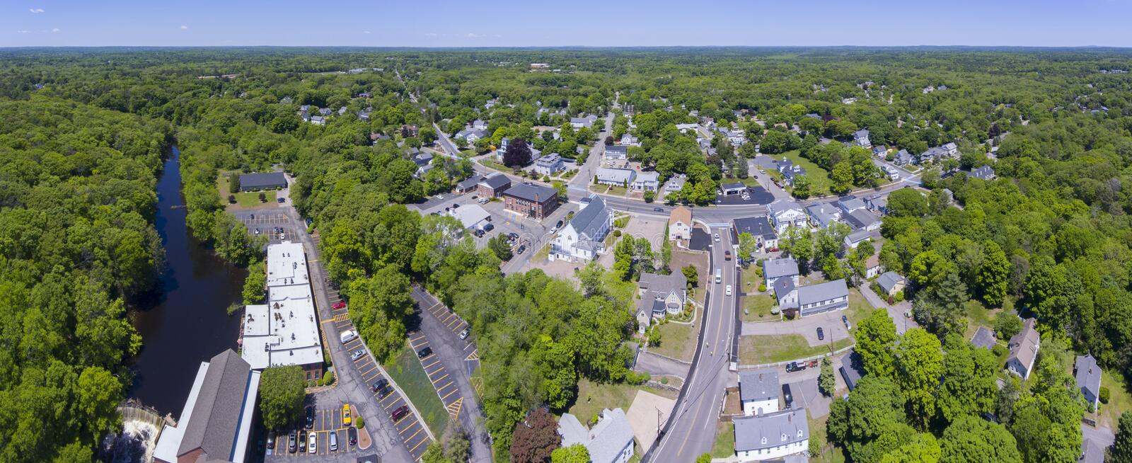 Medway town center panorama, Massachusetts, USA. Medway town center aerial view panorama including Sandford Mill on Charles River, town center and Village Street stock photography
