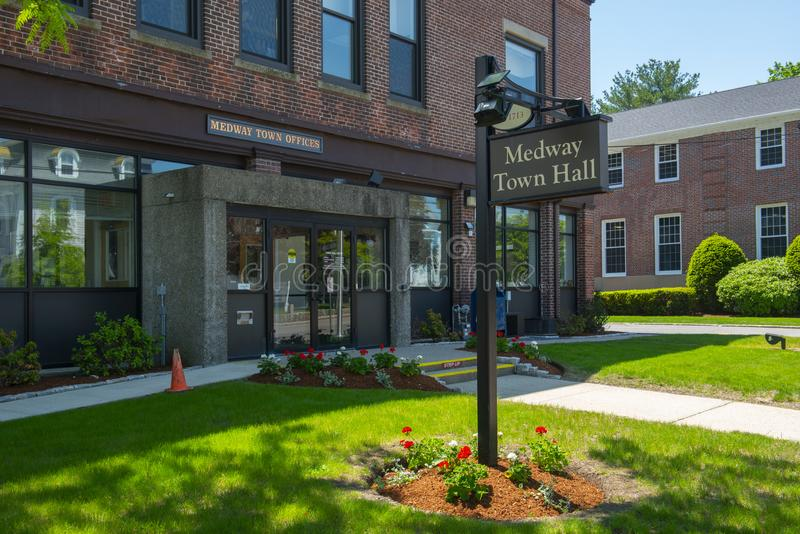Medway Town Hall, Massachusetts, USA. Medway town hall on Village Street at the town center of Medway in Boston Metro West area, Massachusetts, USA royalty free stock images