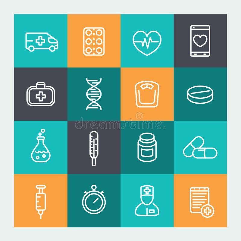 Medycyn ikony ustawiać w kreskowym stylu ilustracja wektor