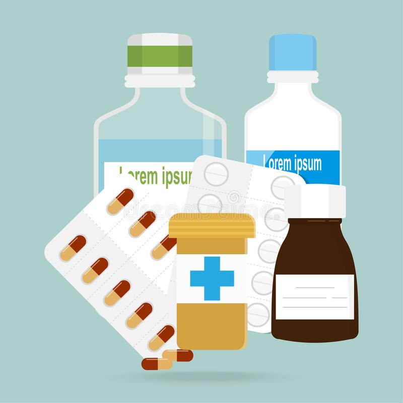 Medycyn kapsuły, pigułki ikona Medyczna ilustracja royalty ilustracja