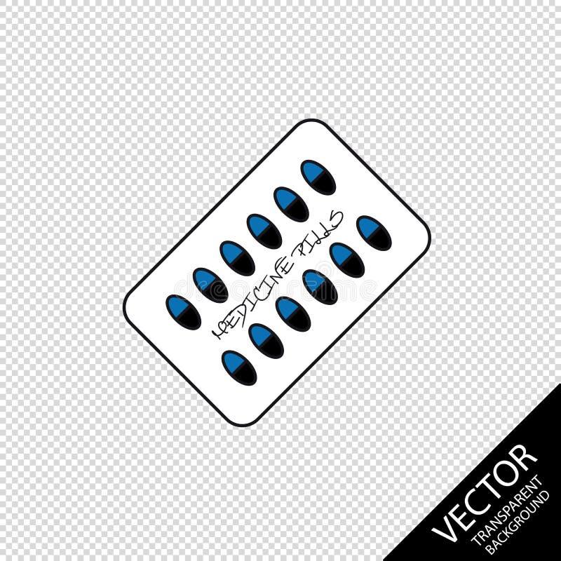 Medycyn pigułki Odizolowywać Na Przejrzystym Blackground - Wektorowa ilustracja - royalty ilustracja