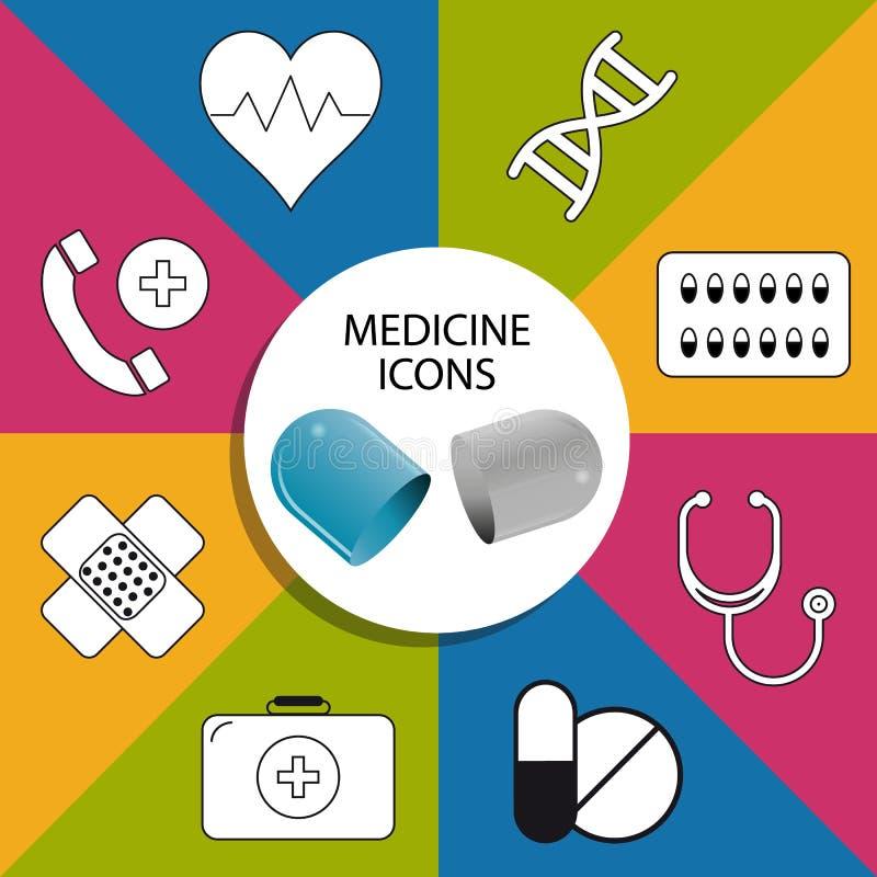 Medycyn pigułek ikona Ustawiająca Na Przejrzystym tle - Kolorowa Wektorowa ilustracja - ilustracji