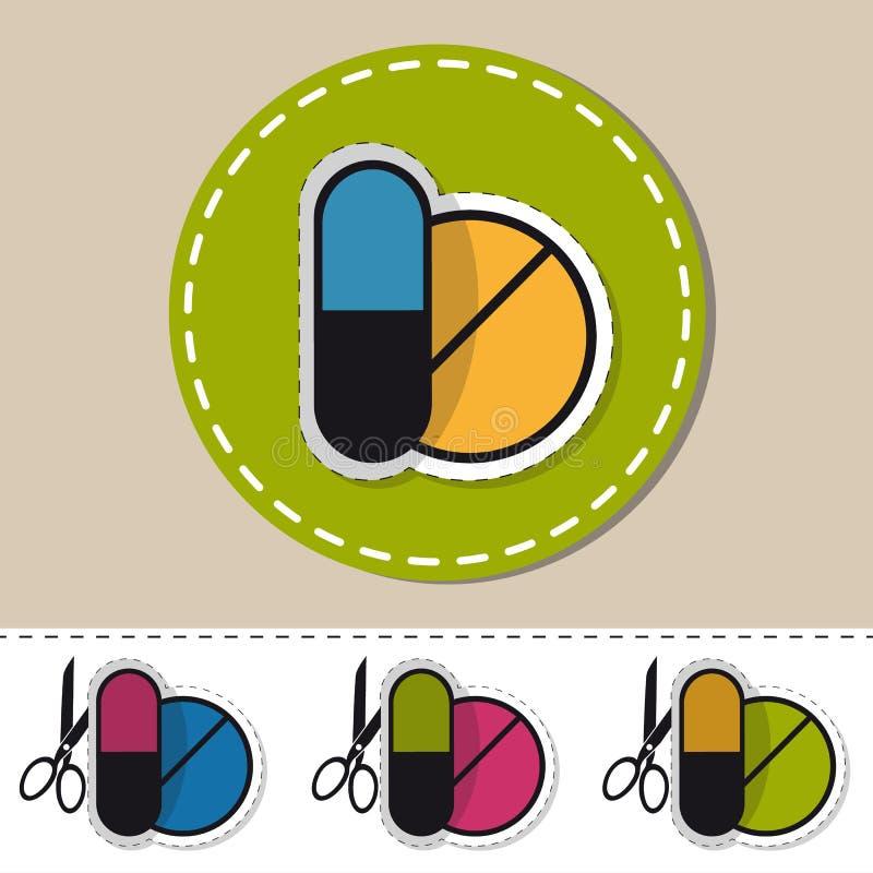 Medycyn pigułki Cią Out ikony Z Nożycowym - konturu majcheru Wektorowa ilustracja - ilustracji