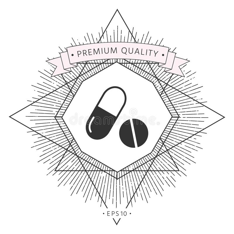 Medycyn pigułki - kapsuły i pigułki ikona ilustracji