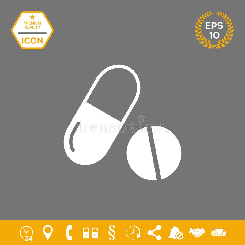 Medycyn pigułki - kapsuły i pigułki ikona Graficzni elementy dla twój projekta ilustracja wektor