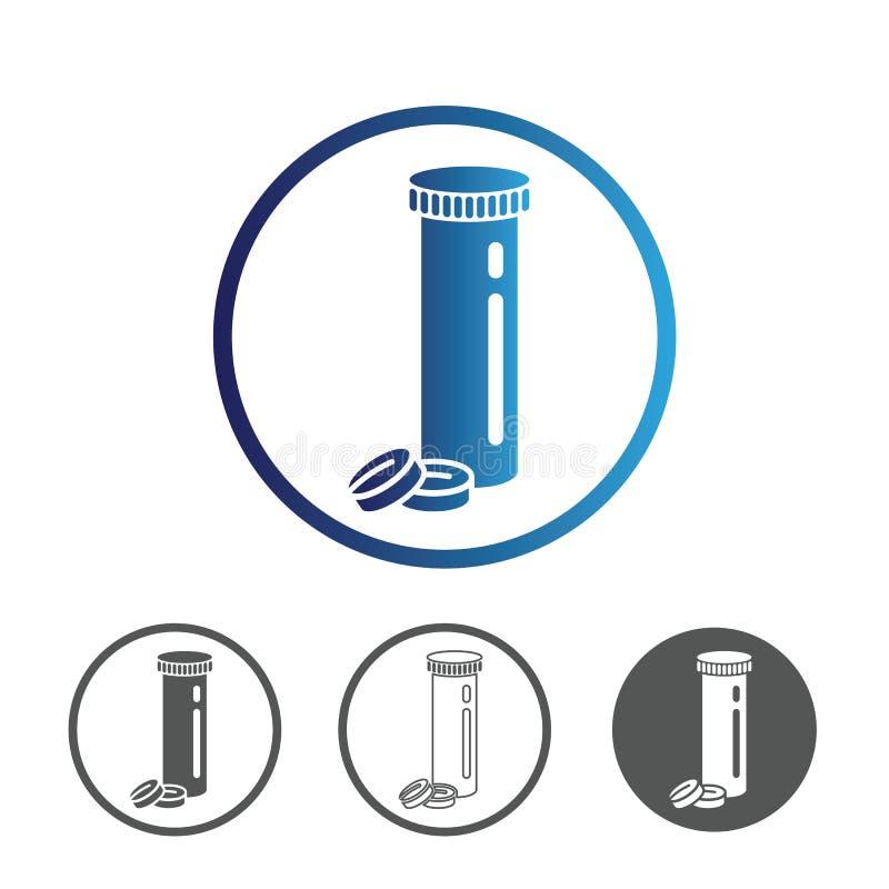 Medycyn pigułki z butelki ikoną royalty ilustracja