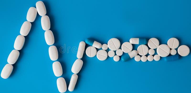Medycyna biel, round serce kształtował pigułki na błękitnym tle Pastylki w postaci linii kierowy rytm na pastelu zdjęcie stock