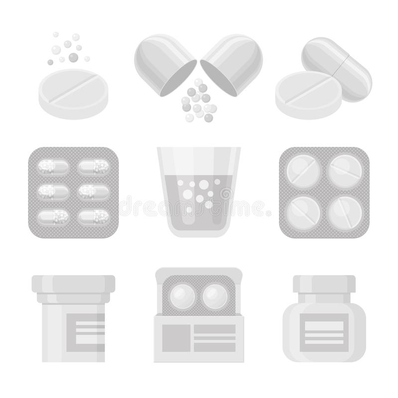 Medycyna i pigułki ikony wektorowy biały realistyczny set royalty ilustracja