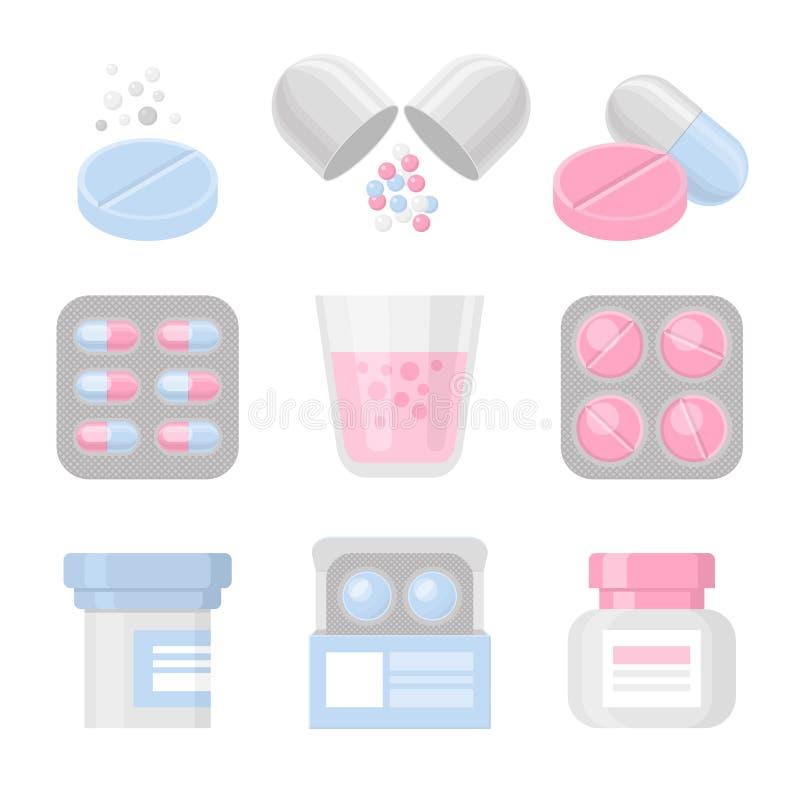 Medycyna i pigułki ikony wektorowy kolorowy set ilustracja wektor