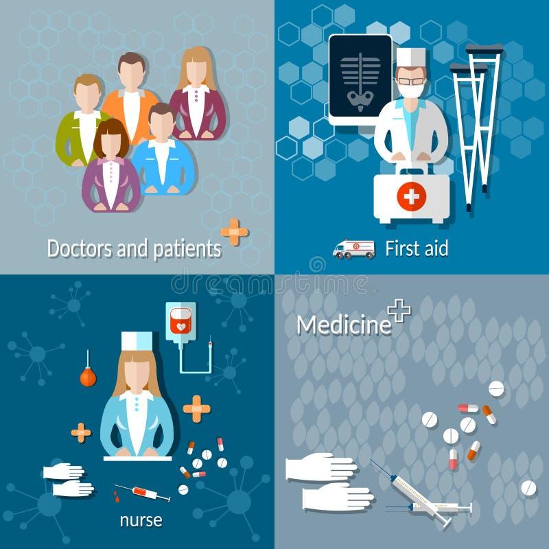 Medycyna: lekarki i pacjenci ilustracja wektor