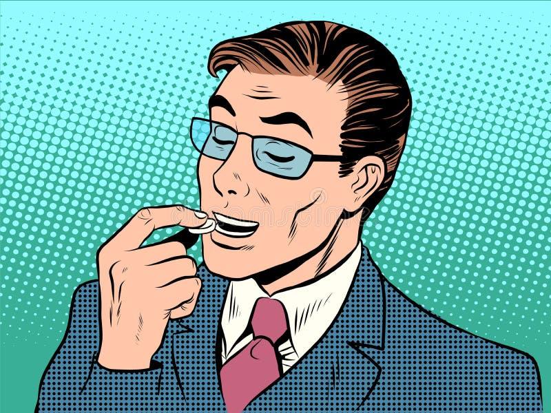 Medycyna mężczyzna zdrowie pastylki traktowanie ilustracja wektor