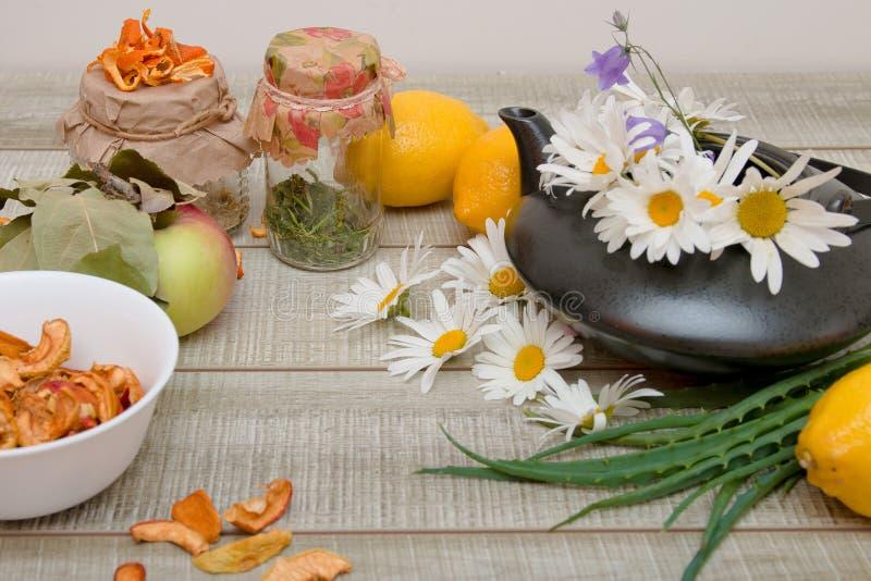 Medycyna naturalna, owoce i zioła do przeziębień sezonowych, jabłko, cytryna, aloe, herbaty ziołowe w słoikach, szare drewniane obrazy royalty free