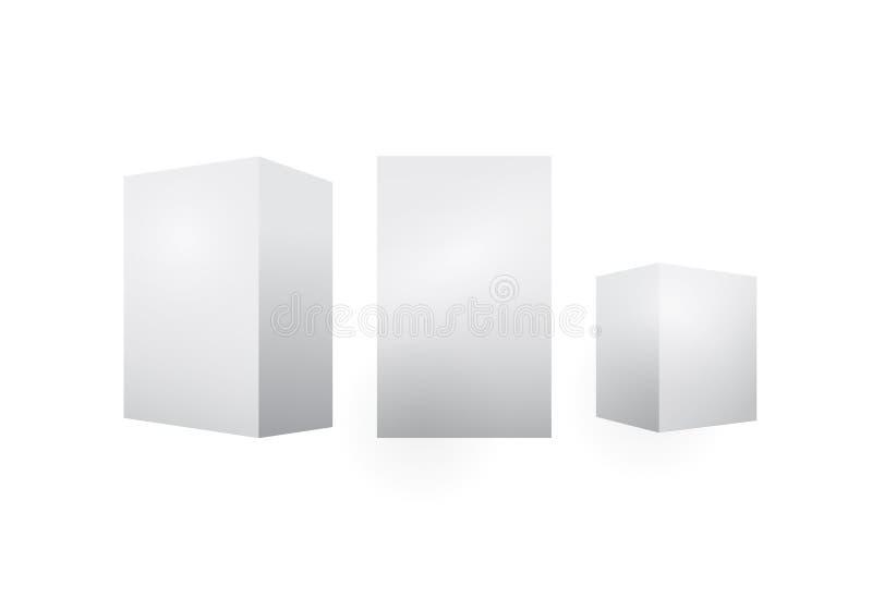 Medycyna pakuje pudełko w górę setu r??ny rozmiar Wektor odizolowywający 3D kartonu karton, biały papieru pakunek lub boksujemy m royalty ilustracja