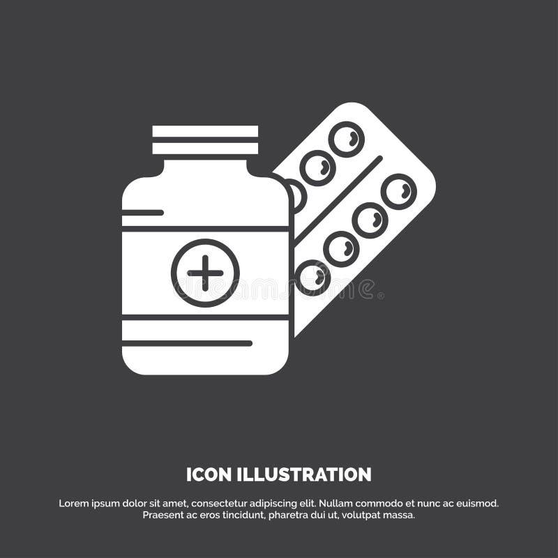 medycyna, pigu?ka, kapsu?a, leki, pastylki ikona glifu wektorowy symbol dla UI, UX, strona internetowa i wisz?cej ozdoby zastosow royalty ilustracja