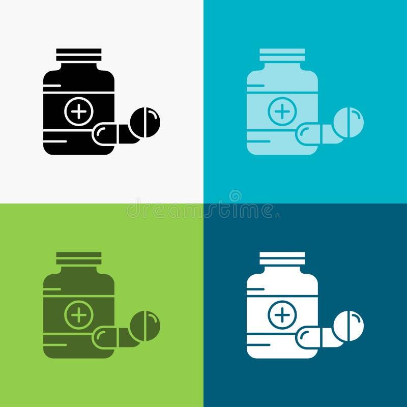 medycyna, pigu?ka, kapsu?a, leki, pastylki ikona Nad R??norodnym t?em glifu stylu projekt, projektuj?cy dla sieci i app EPS 10 we royalty ilustracja