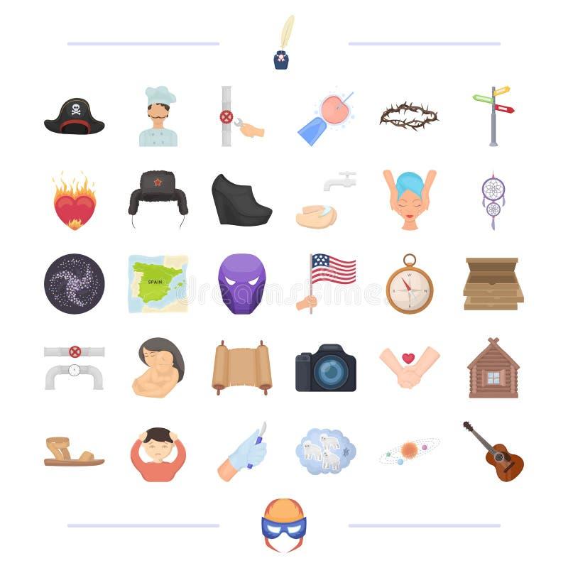 Medycyna, podróż, astronomia i inna sieci ikona w kreskówce, projektujemy instrument, mężczyzna, twarzy ikony w ustalonej kolekci royalty ilustracja