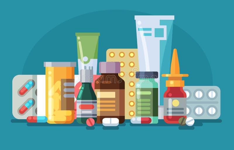 Medycyna Tabletki, kapsułki i szklane butelki z lekiem, tubki z maścią, aerozol Farmakologiczne ilustracja wektor