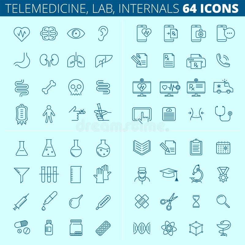 Medycyna, zdrowie, telemedicine, internals, nauk kreskowe ikony ilustracja wektor