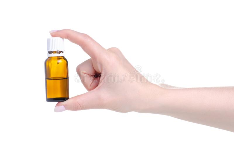 Medycyny br?zu butelka w r?ki opiece zdrowotnej fotografia stock