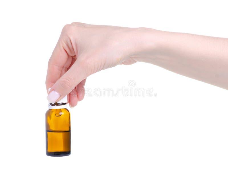 Medycyny br?zu butelka w r?ki opiece zdrowotnej obraz royalty free