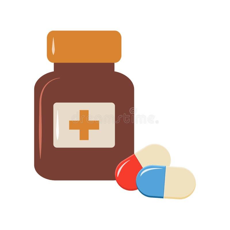 Medycyny butelka i pigułek kapsuły Barwiona ilustracja, odizolowywająca na białym tle wektor ilustracji