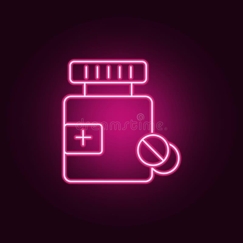 Medycyny butelka i pigułki neonowa ikona Elementy Medecine set Prosta ikona dla stron internetowych, sie? projekt, mobilny app, e ilustracji