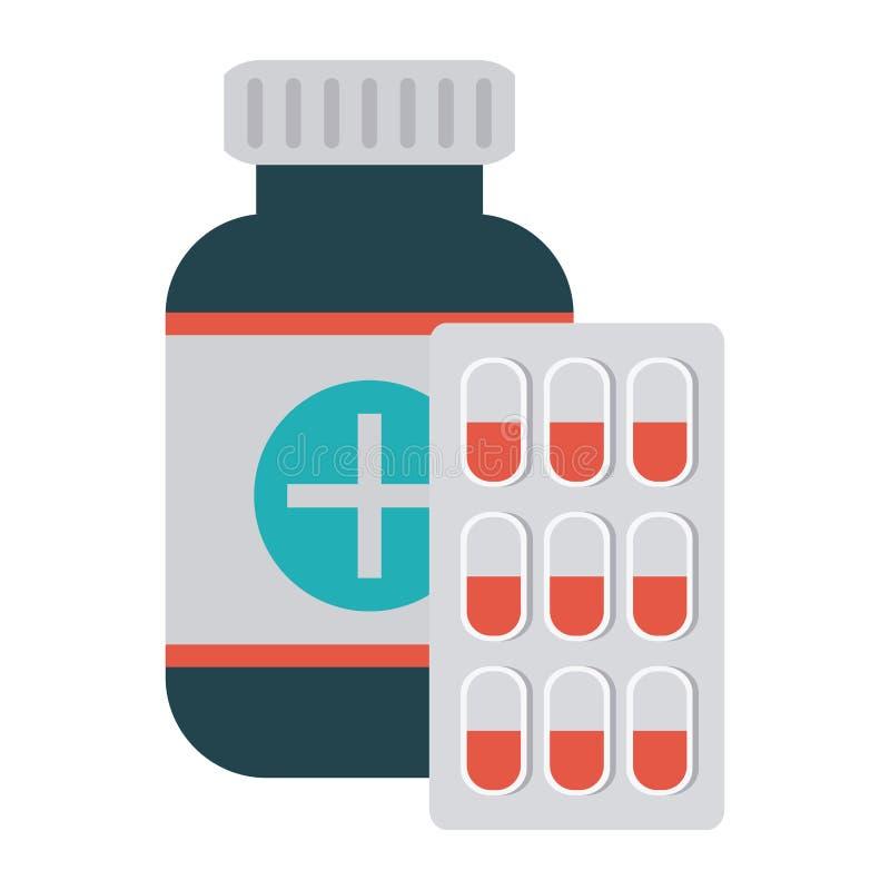 Medycyny butelka i pigułki pastylka ilustracja wektor