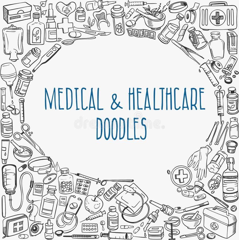 Medycyny doodle tło royalty ilustracja