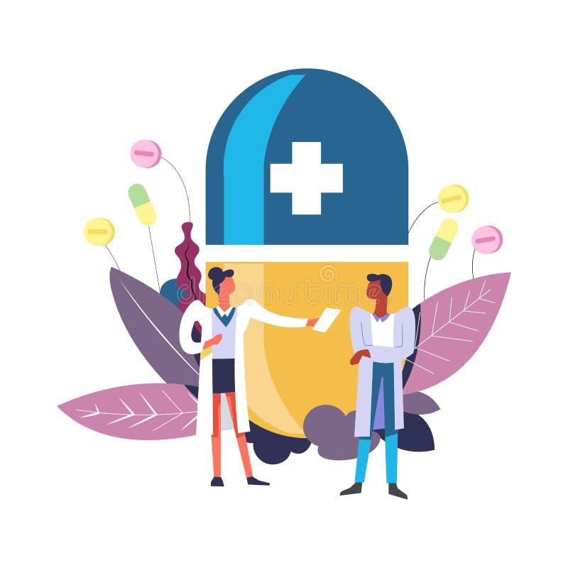 Medycyny i apteki lekarka z wektorem ilustracja wektor