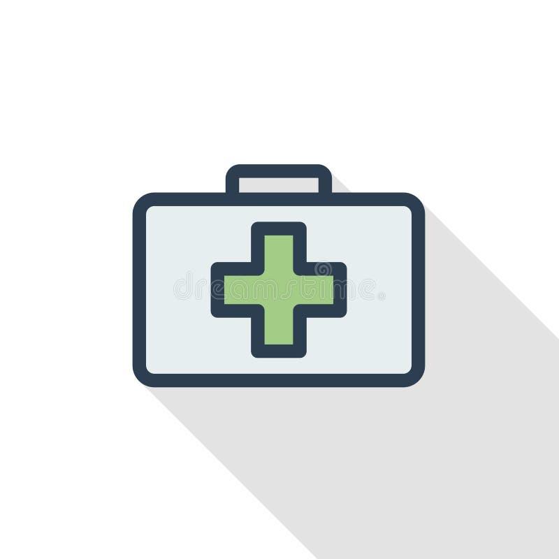 Medycyny klatki piersiowej koloru cienka kreskowa płaska ikona Liniowy wektorowy symbol Kolorowy długi cienia projekt ilustracja wektor