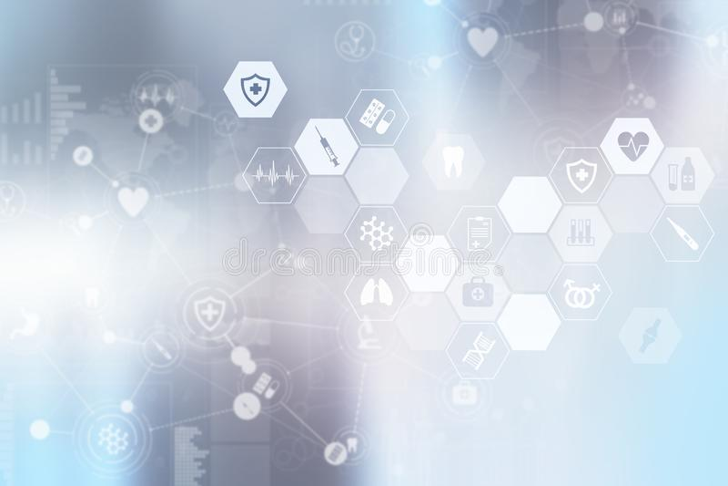 Medycyny lekarka używa nowożytnego komputerowego wirtualnego ekranu interfejs, medyczny technologii sieci pojęcie ilustracja wektor
