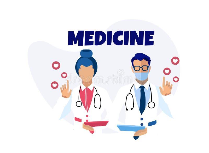Medycyny opieka zdrowotna Usługuje Reklamowego sztandar ilustracji
