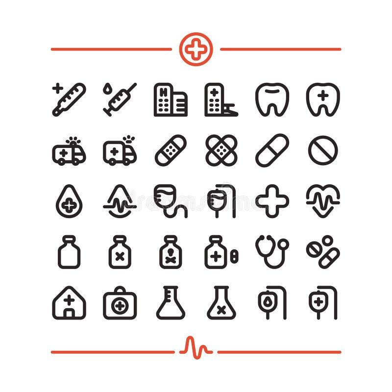 Medycyny pierwszej pomocy Szpitalni zdrowie 32 Wektorowej ikony Ustawiającej ilustracja wektor