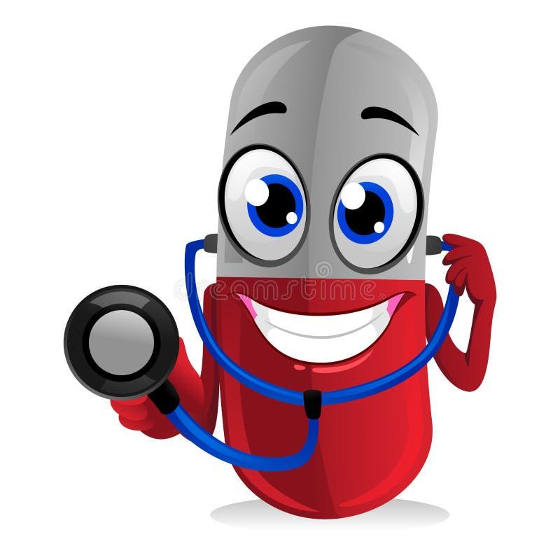 Medycyny pigułki maskotka trzyma stetoskop ilustracji