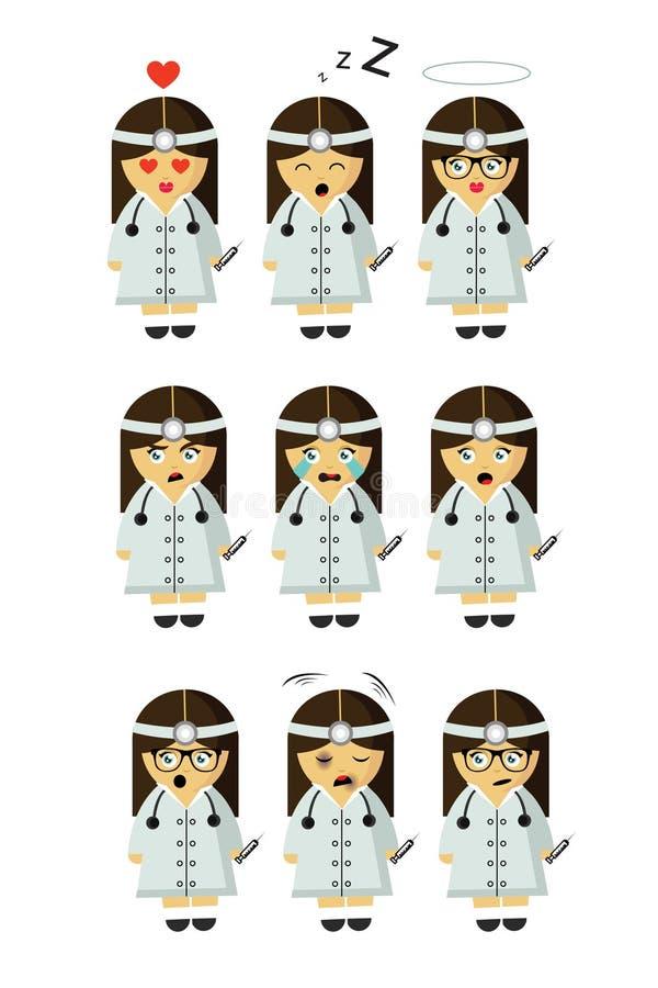 Medycyny siostrzana akcydensowa mała dziewczynka z dziewięć emocjami royalty ilustracja