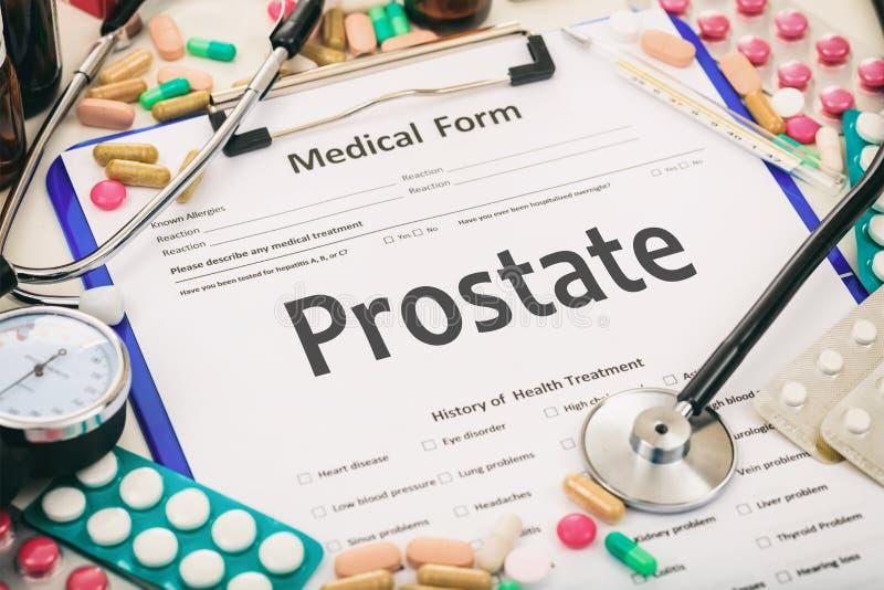 Medyczna forma, diagnozy prostata zdjęcie stock