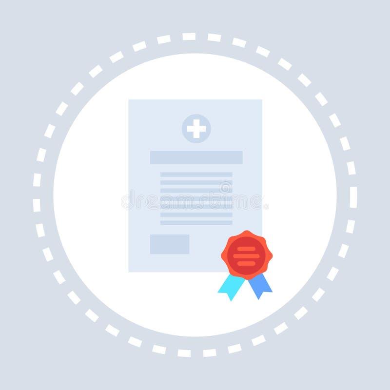 Medyczna formularzowa dokumentu świadectwa ikony opieki zdrowotnej usługi logo medycyna i zdrowie symbolu pojęcia mieszkanie ilustracji