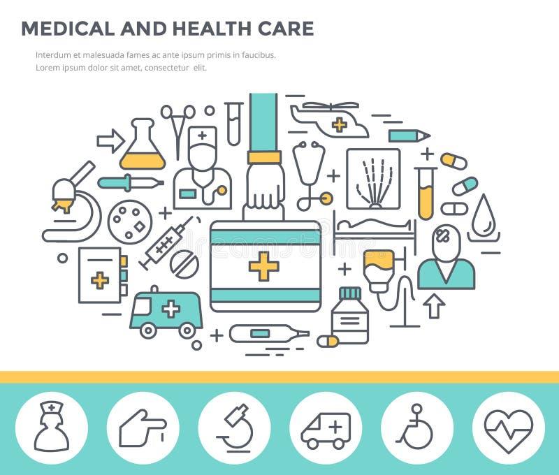Medyczna i opieka zdrowotna pojęcia ilustracja ilustracja wektor