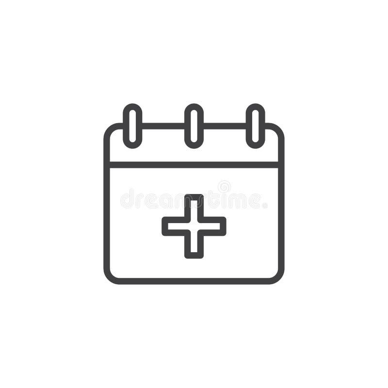 Medyczna kalendarz linii ikona ilustracji