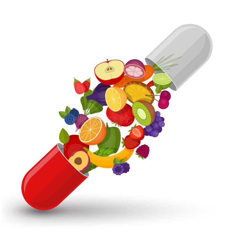 Medyczna kapsuła z owoc i warzywo Witaminy i suppleme royalty ilustracja
