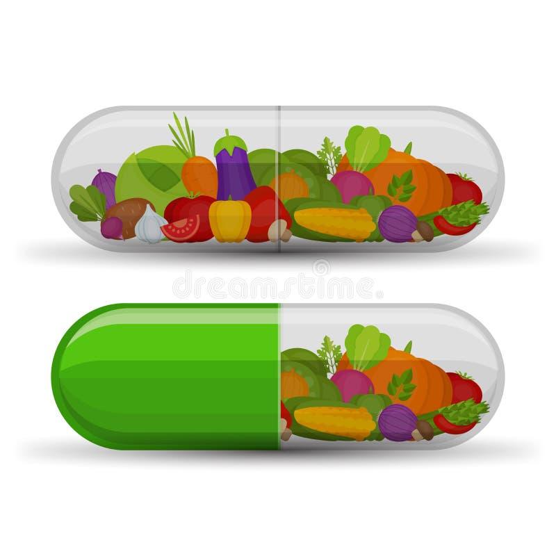 Medyczna kapsuła z warzywami uzupełnia witaminy Diffe ilustracja wektor