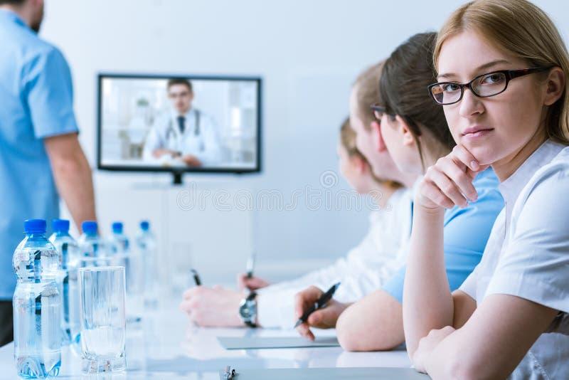 Medyczna konferencja od odległości obrazy stock