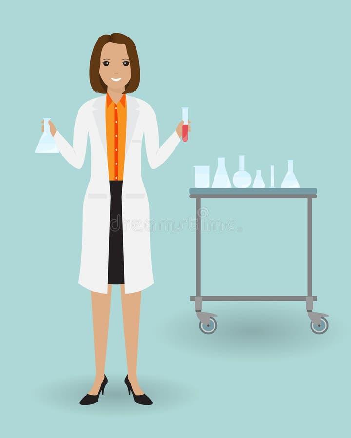 Medyczna laboranckiego asystenta pozycja z glassware Medycyna tester z próbką krwi Medyczny pracownik royalty ilustracja